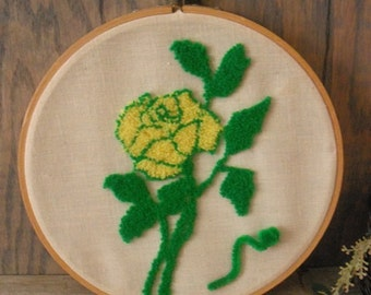 Vintage Punch Needle Embroidery YELLOW Rose Wall Hanging yellow green Hoop embroidery