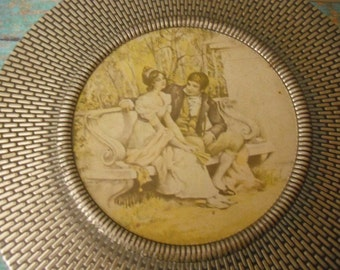 vintage Blue Grey Gray Textured Victorian Scene Tin ... Lovely ... Storage Dresser box ... container