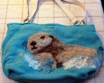 Felted Wool Purse with Needle Felted Sea Otter