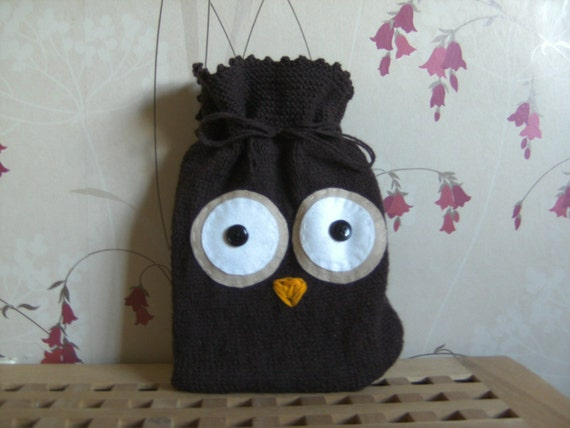 Owl Hot Water Bottle Cover Knitting Pattern : Owl hot water bottle cover