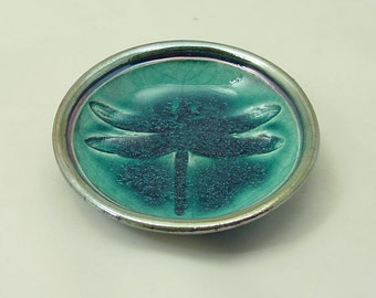 Dragonfly Bowl Handmade Ceramic Raku Pottery in Teal