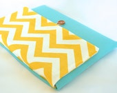 """13"""" Laptop Sleeve with Pocket, Laptop Clutch Bag, Padded Laptop Case - Yellow Chevron"""