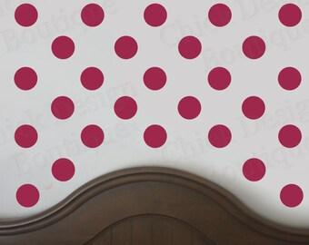 Dark Red Vinyl Wall Circle Polka Dot Decals
