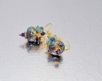 Lampwork earrings,Multi color earrings,24kt Vermeil Gold Earrings, Quartzite faced round Gemstone,GlassBead Earrings,