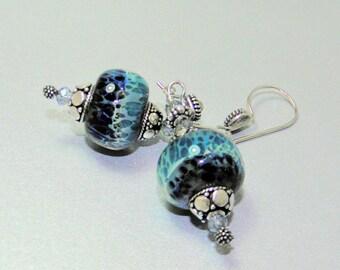 Lampwork beads Earring, Sterling Silver Earrings,Dangle Earrings,Two tone dark Blue,light Blue Lampwork bead Earrings          k Earrings