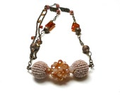 Long Bohemian Style Necklace. Large Bead Necklace. Peach. Amber. Beaded Beads. 43 inch.