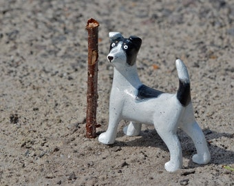 Dog Jack Russel black and white sculpture figurine handmade air-dry clay (ooak)