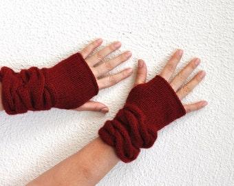 Red Gloves Knit Fingerless Gloves Wrist Warmers Mittens Warm Cozy Women Gloves Women Accessories
