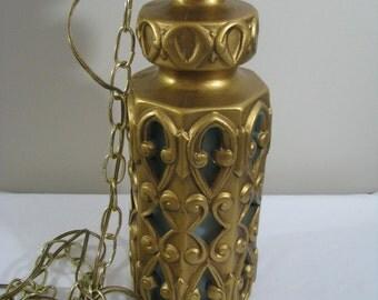 Vintage Gold and Aqua Blue Ceramic Hanging Swag Light Chain Lamp