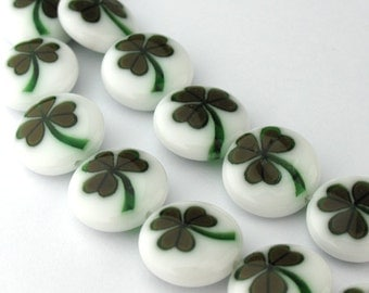 2pcs of 12mm Olive Leaf Millefiori Glass Round Coin Beads