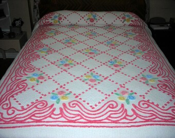 Chenille Full Bedspread -Vintage- Iced Cake -- Double - 89 x 102