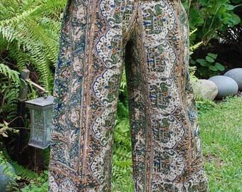 "Hippie Pants - 40"" Long - Hips 48"" - Kalamkari Green Blue Elephant - fits many sizes -check Measurements"