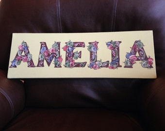 Custom painted Norwegian rosemaled Name sign MEDIUM