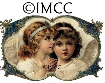 Digital Download Cherub Angels Victorian Wings Spritual PNG Vintage Clip Art Inspirational Free Waterslide Decal Instructions Included ECS