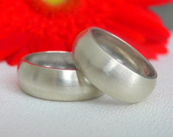 Simple Domed Silver Wedding Bands - Matte Finish