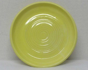 Porcelain Yellow Soap Dish or Candle Holder