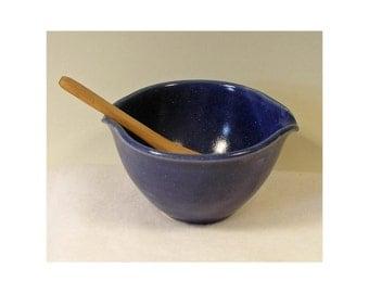 Porcelain Small Dark Matt Blue Egg Mixer or Rice Bowl