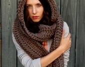 Womens Scarf Oversized Hooded Scarf Gifts for Hair The Lofty Hooded Scarf, Scoodie Chunky Long Scarf Mortar Brown or Choose your Color