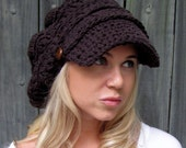 Cotton Slouchy Hat Newsboy Hat Womens Hat Two Leather Button Band Cap Summer Seasonal Hat Tam Crochet Hat Espresso Brown or CHOOSE color