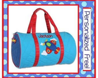 36 Fonts- Personalized Boy's AIRPLANE DUFFLE Blue Quilted Bag by Stephen Joseph FREE Monogram