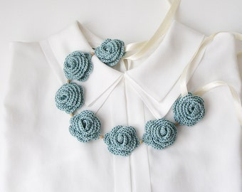 Jade Green Crochet Necklace  Crochet Collar with Flowers Mint Green  Floral Collar Textile Jewelry