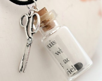 Rock Paper Scissors glass vial pendant with scroll of upcycled paper, small pebble and scissors charm- great Christmas gift