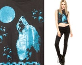 WOLF Tank Top 90s Shirt Iridescent Moon Animal Crop Top Metallic Cropped Paw Print 90s Cut Sleeveless Hipster Vintage Black Extra Small xs