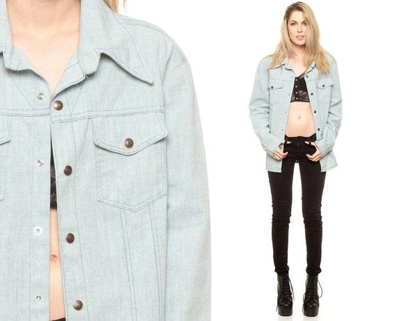 Light Denim Jacket 70s Faded Blue Jean Oversized Men 1970s