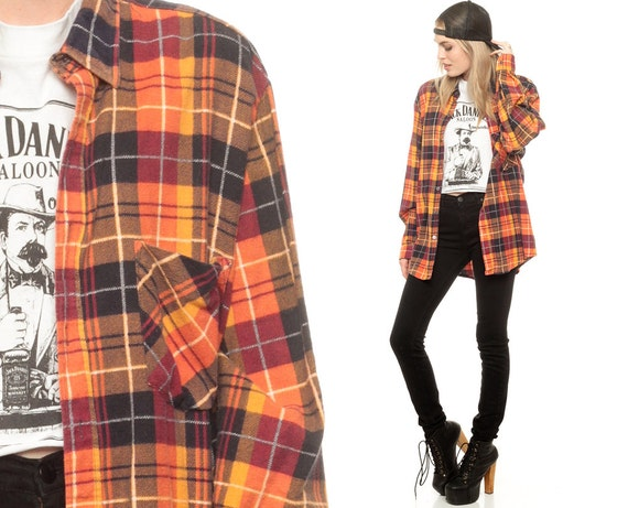 Oversize Flannel Shirt 90s Plaid Shirt Grunge Orange Yellow