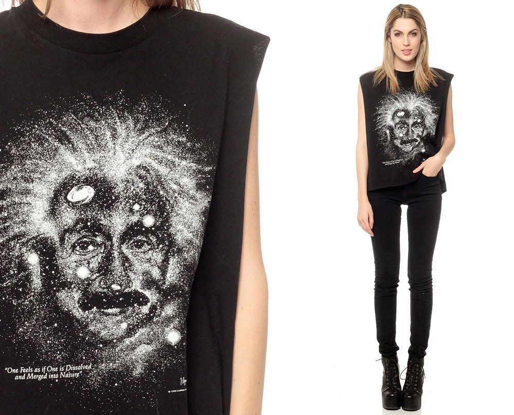 Albert Einstein Shirt Outer Space Vintage Galaxy Tshirt 80s
