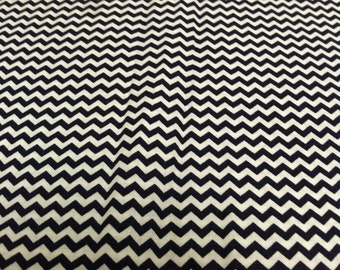 Mini Chevron print fabric navy blue