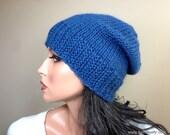 Blue Slouchy Knit Hat in Baby Alpaca, Custom Made Handknit Cap for Adult Women Teens Girls // BLEECKER // Shown in Color 2 Atlantic Blue