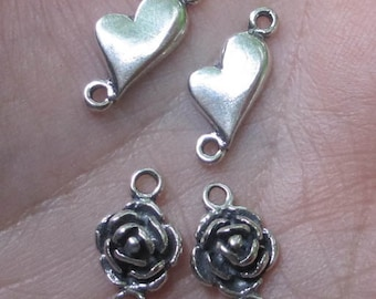 Sterling Silver  Heart or Rose Links(1 pair)You choose which pair