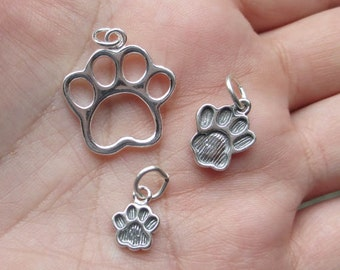 Sterling Silver Paw Print Charm solid or open work - you choose which one