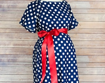 Navy Polka Dot Maternity Hospital Delivery Gown- Super Soft -Perfect Snaps for Breastfeeding, Skin to Skin, and Epidural