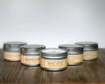 6 Gourmet Soy Candles Sampler Set / Cowoker, Friend, Hostess Gift Box Set