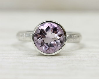 Light Amethyst or Black Spinel Gemstone Ring in Sterling Silver, custom sized stacking ring
