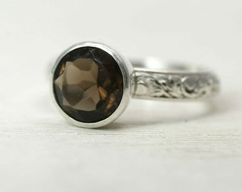 Large Smoky Quartz Ring in Sterling Silver, custom sized stacking ring