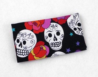 LAST ONE! Sugar Skulls Duplicate Checkbook Cover, Pen Holder, Scotchgard, Cotton Fabric - Red Roses Day of the Dead, Dia de los Muertos