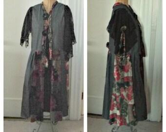 Denim Velvet Coat Boho Art To Wear Beaded Dream Black Red Gold Tattered Womens