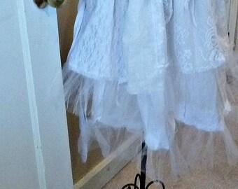 Boho Lagenlook White Tulle Skirt Petticoat Slip Wedding Bridal One Size Collage Womens Wearable Art Vintage Linens Crochet Doily Tattered