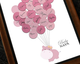 Baby Shower Guestbook - Hippo with Balloons
