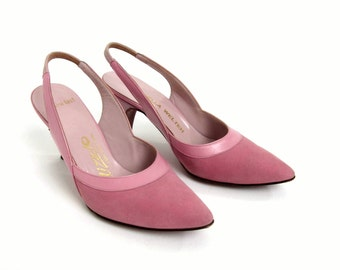 Vintage 1960 Womens Size 3.5 Pumps / 60s Slingback Kitten Heels VGC / Pink Suede and Leather