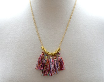 Gold Colourful Tassel Necklace
