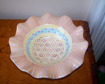 MACKENZIE CHILDS, Summer Frock, Ruffled Edge, Serving Bowl, Victoria and Richard, Vintage, Retired,