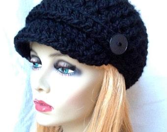 Crochet Womens Hat, Newsboy, Black, Very Soft Chunky, Buttons, Warm, Teens, Winter, Ski Hat, JE808N