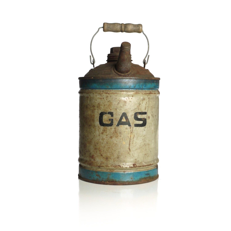 Vintage Metal Gas Can Wooden Handle