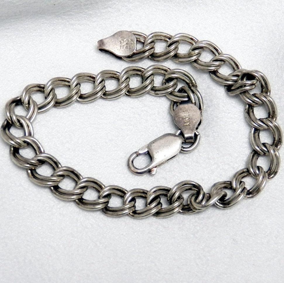 Charm Bracelet Double Loop Sterling Silver