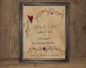 Personalized Wedding Sampler - Primitive Decor -  Wedding Stitchery - Embroidery - Wedding Gift -