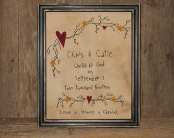 Personalized Wedding Sampler - Primitive Decor -  Wedding Stitchery - Embroidery - Wedding Gift -